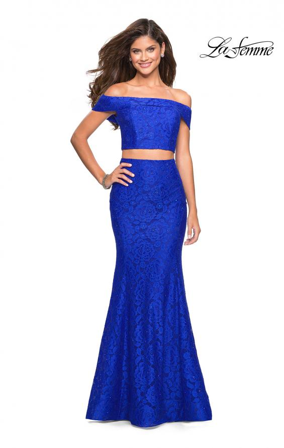 Picture of: Lace Two Piece Off the Shoulder Dress with Rhinestones in Electric Blue, Style: 27443, Detail Picture 1