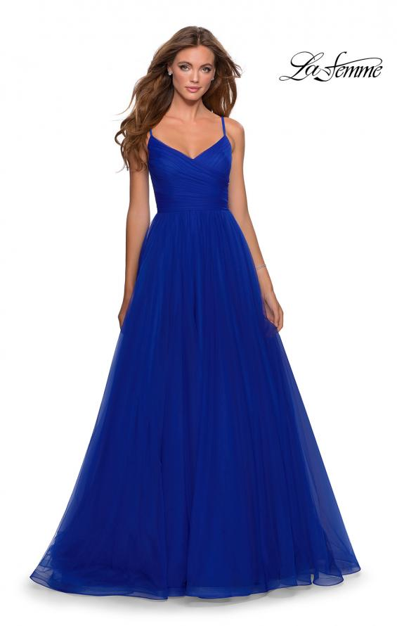 Picture of: Long Tulle Pleated Bodice Prom Gown with Pockets in Electric Blue, Style: 28123, Detail Picture 1