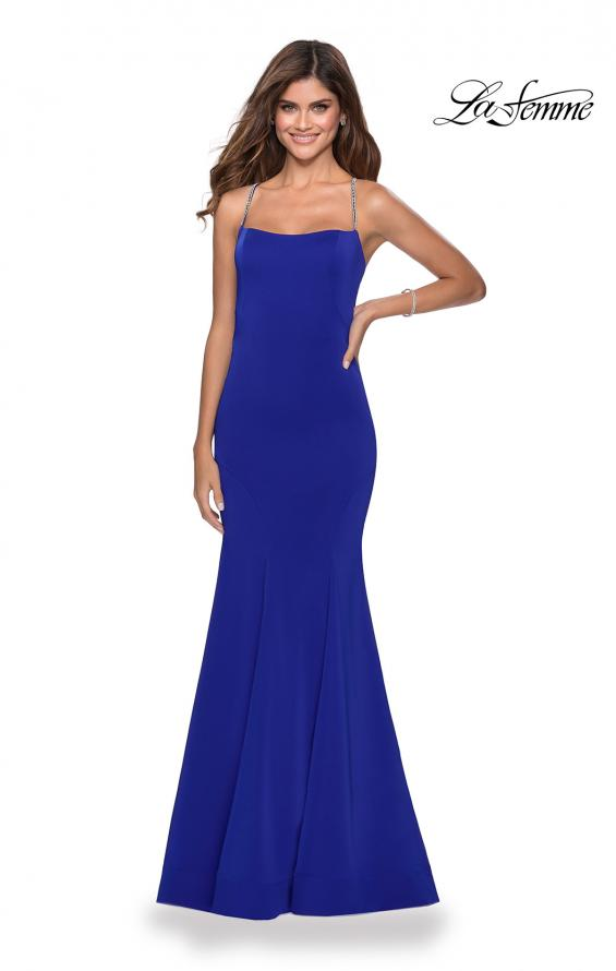 Picture of: Long Jersey Prom Dress with Beaded Strappy Back in Electric Blue, Style: 28526, Detail Picture 1
