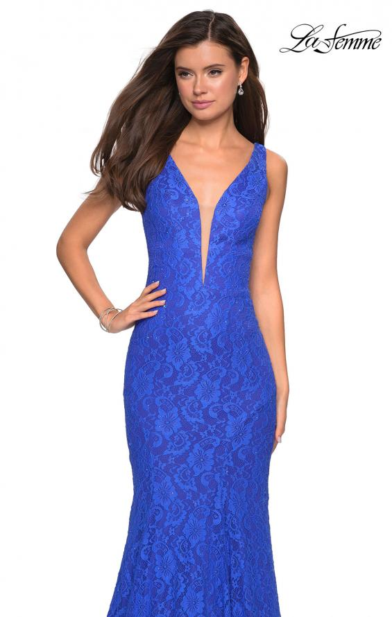 Picture of: Stretch Lace Prom Dress with Plunging Neckline, Style: 27464, Detail Picture 2