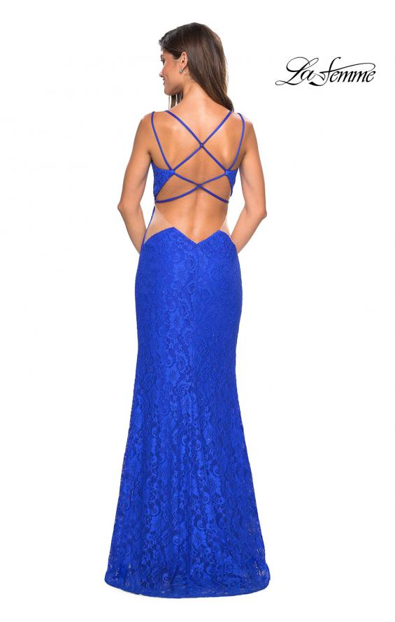 Picture of: Stretch Lace Long Prom Dress with Illusion Sides, Style: 27029, Detail Picture 4