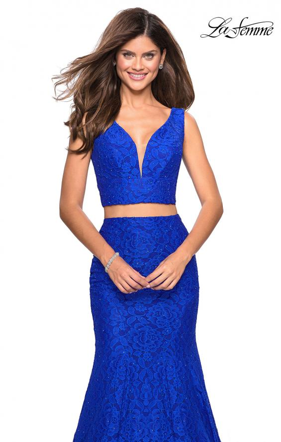 Picture of: Sweetheart Neckline Two Piece Long Lace Prom Dress, Style: 27262, Detail Picture 6