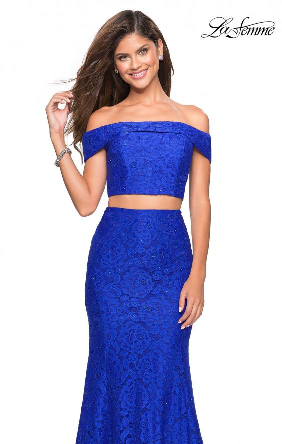 Picture of: Lace Two Piece Off the Shoulder Dress with Rhinestones in Electric Blue, Style: 27443, Detail Picture 7