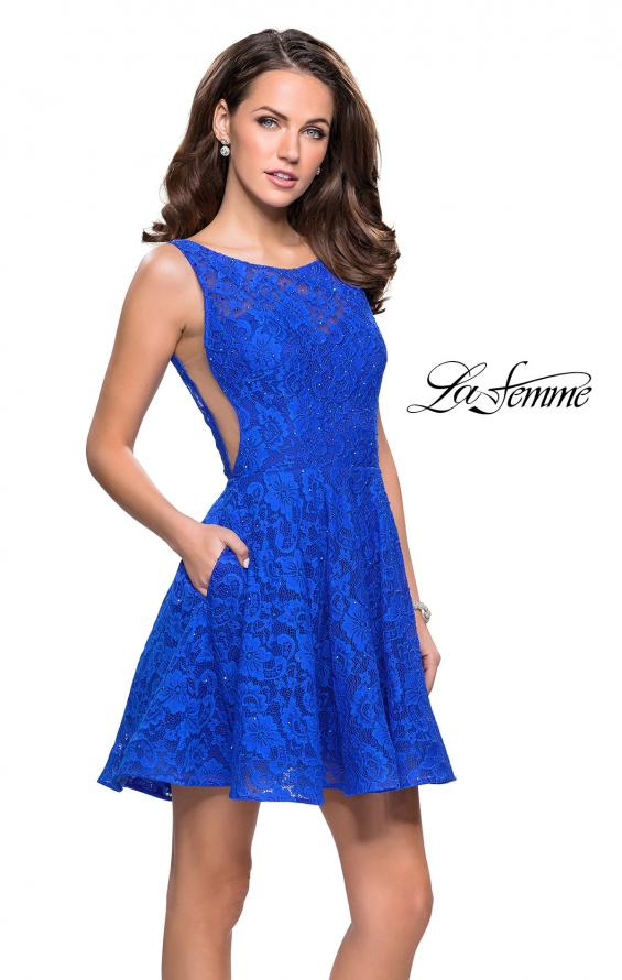 Picture of: Lace Short Dress with Rhinestones and Pockets in Electric Blue, Style: 26616, Main Picture