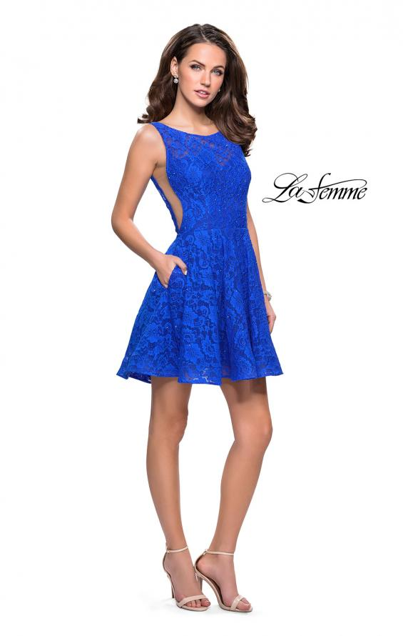 Picture of: Lace Short Dress with Rhinestones and Pockets in Electric Blue, Style: 26616, Detail Picture 8