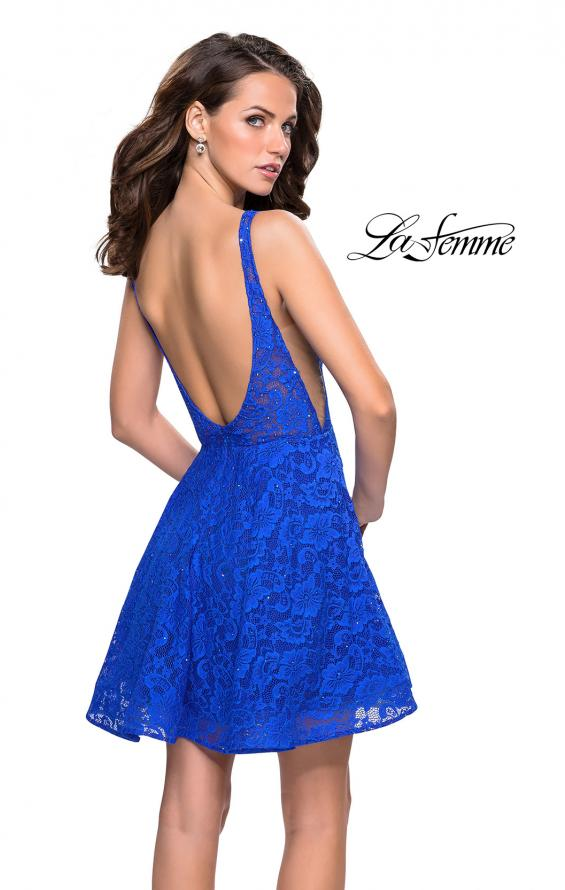 Picture of: Lace Short Dress with Rhinestones and Pockets in Electric Blue, Style: 26616, Back Picture