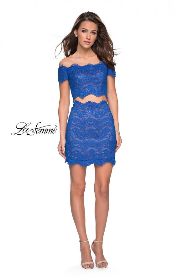 Picture of: Lace Two Piece Dress Set with Off the Shoulder Top in Electric Blue, Style: 26666, Detail Picture 2