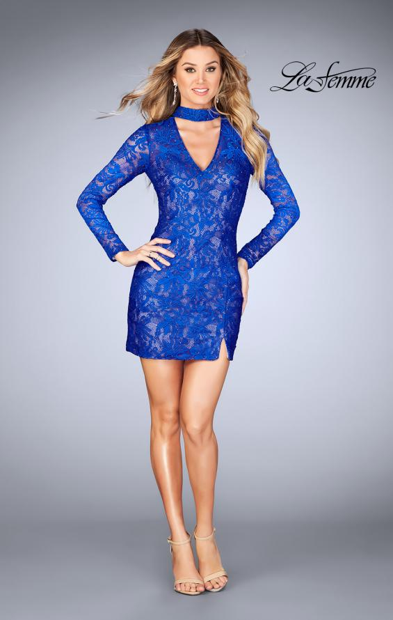 Picture of: Long Sleeve Short Lace Dress with Choker in Electric Blue, Style: 25373, Detail Picture 4