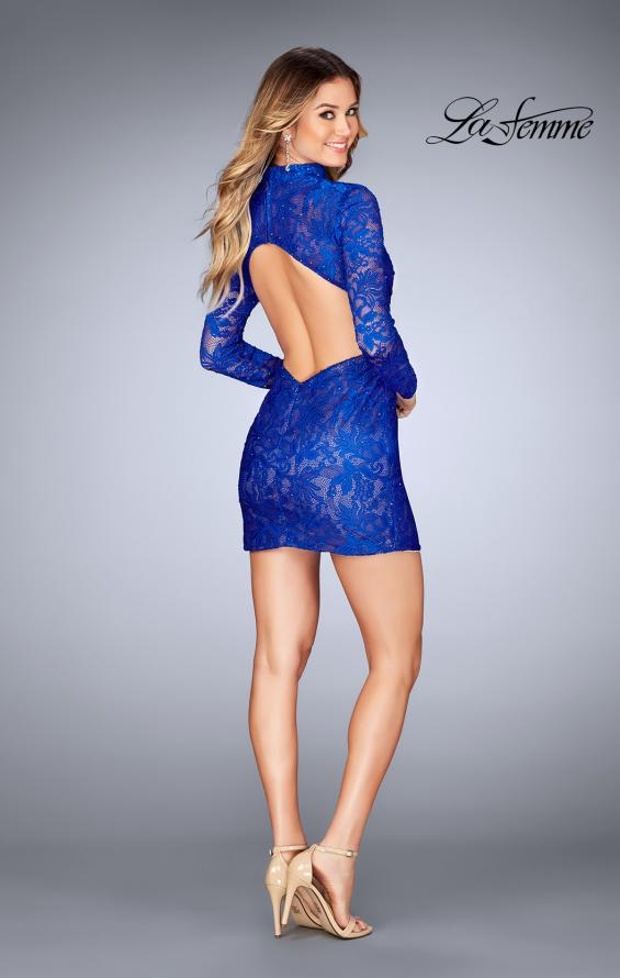 Picture of: Long Sleeve Short Lace Dress with Choker in Electric Blue, Style: 25373, Detail Picture 5