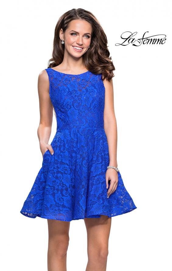Picture of: Lace Short Dress with Rhinestones and Pockets in Electric Blue, Style: 26616, Detail Picture 6