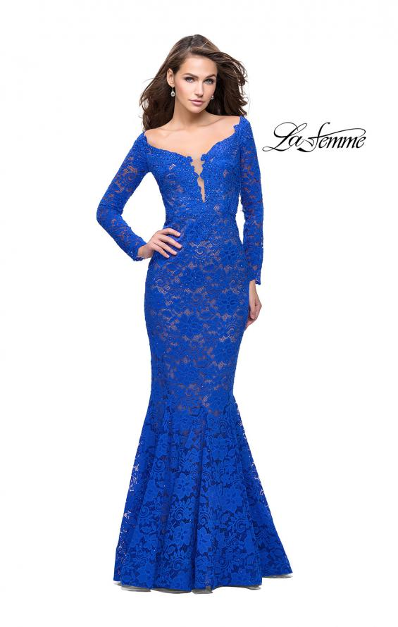 Picture of: Long Sleeve Lace Mermaid Prom Dress with Metallic Beads, Style: 25607, Main Picture