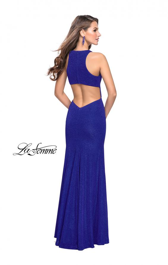 Picture of: Long Jersey Prom Dress with Racer Back and V Neckline, Style: 25882, Back Picture