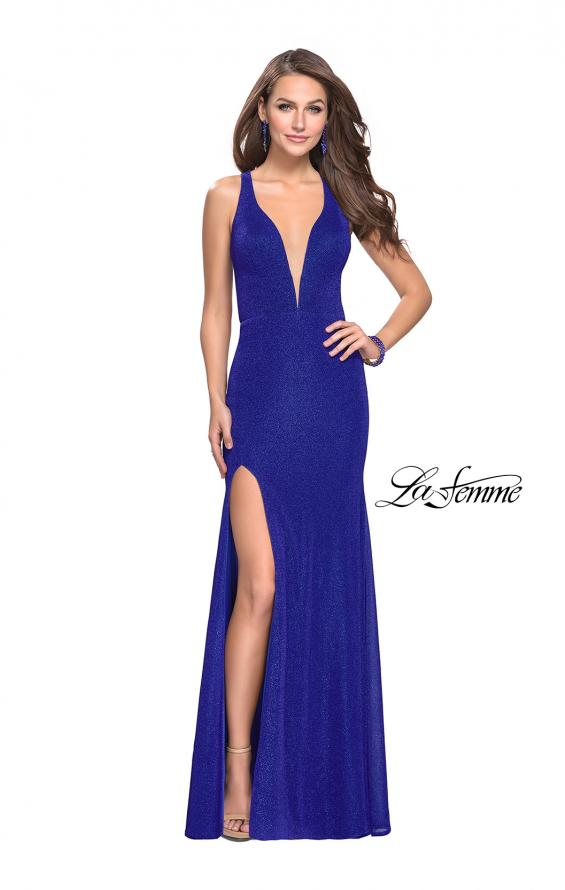 Picture of: Long Jersey Prom Dress with Racer Back and V Neckline, Style: 25882, Detail Picture 3