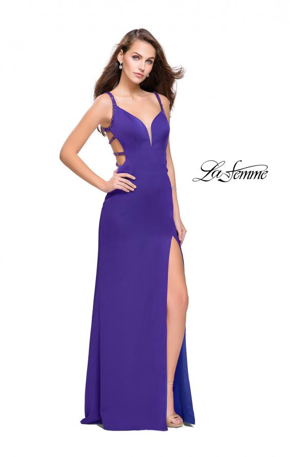 Picture of: Satin Prom Dress with Metallic Beaded Straps and Slit in Electric Purple, Style: 26012, Back Picture