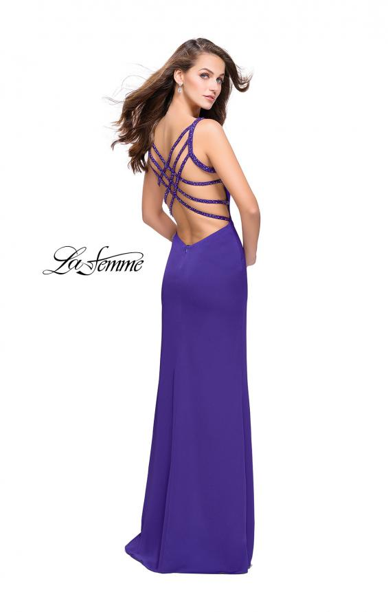 Picture of: Satin Prom Dress with Metallic Beaded Straps and Slit in Electric Purple, Style: 26012, Detail Picture 2