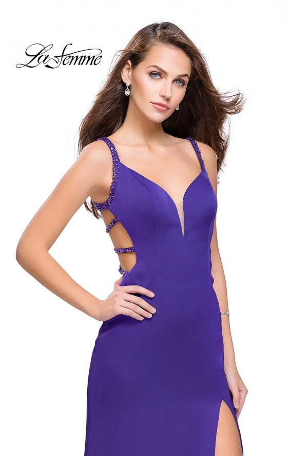 Picture of: Satin Prom Dress with Metallic Beaded Straps and Slit in Electric Purple, Style: 26012, Detail Picture 3
