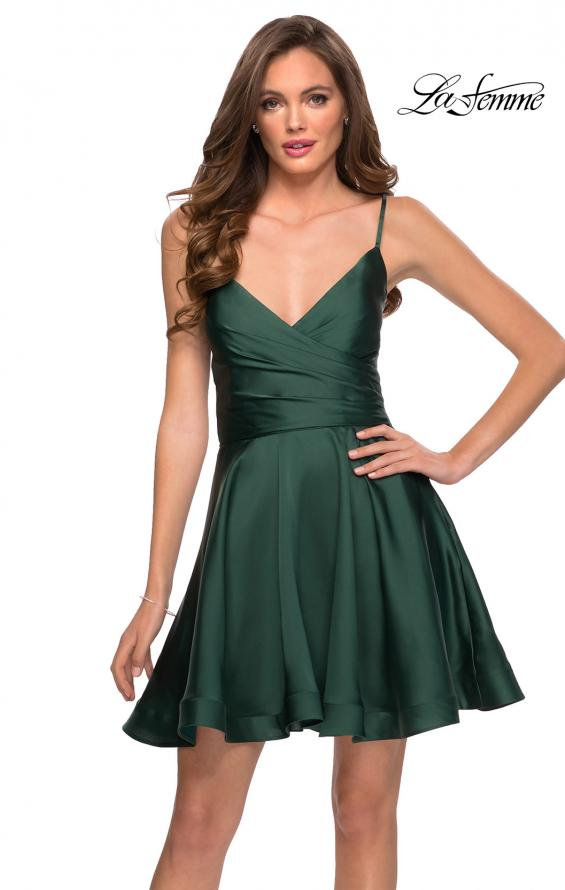 Picture of: Satin Homecoming Dress with Cut Out Corset Style Back in Emerald, Style: 29242, Main Picture