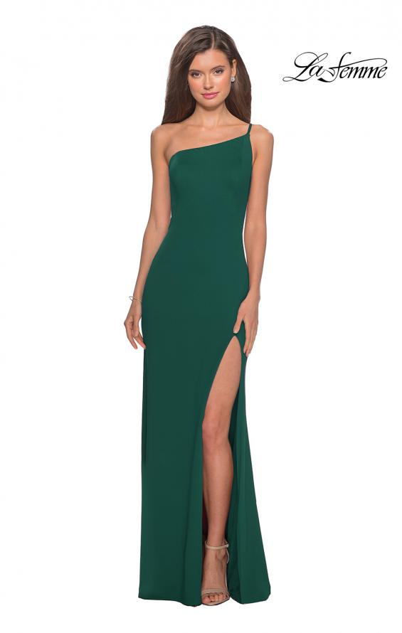 Picture of: One Shoulder Long Jersey Homecoming Dress in Emerald, Style: 28176, Detail Picture 12