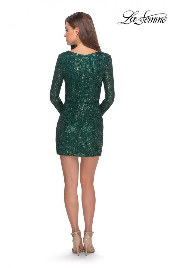 Picture of: Long Sleeve Sequin Dress with Faux Wrap Skirt in Emerald, Style: 28316, Detail Picture 2