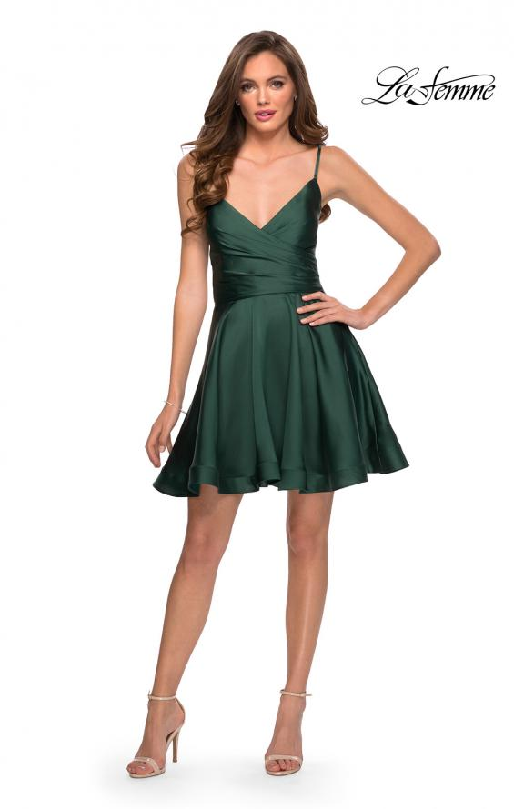 Picture of: Satin Homecoming Dress with Cut Out Corset Style Back in Emerald, Style: 29242, Detail Picture 3