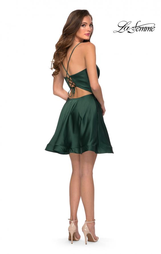 Picture of: Satin Homecoming Dress with Cut Out Corset Style Back in Emerald, Style: 29242, Detail Picture 4
