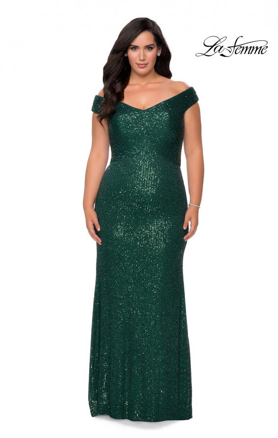 Picture of: Off The Shoulder Sequin Plus Size Prom Dress in Emerald, Style: 28795, Detail Picture 1