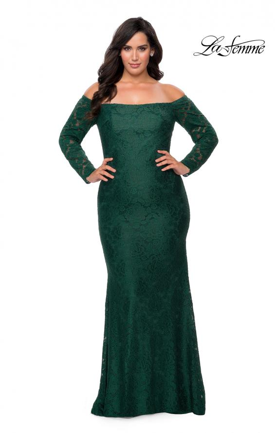 Picture of: Long Sleeve Off The Shoulder Lace Plus Size Dress in Emerald, Style: 28859, Detail Picture 1