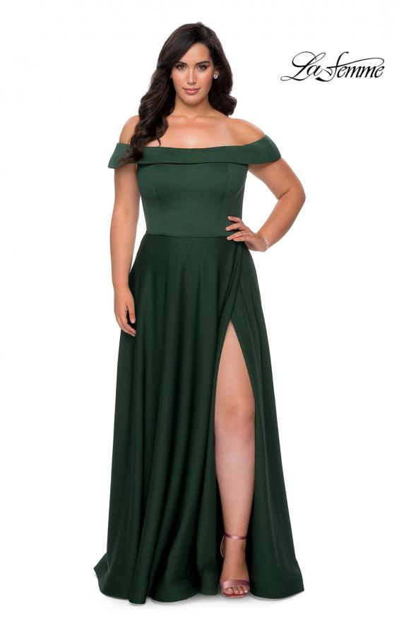 Picture of: Off The Shoulder Plus Size Dress with Leg Slit in Emerald, Style: 29007, Detail Picture 1