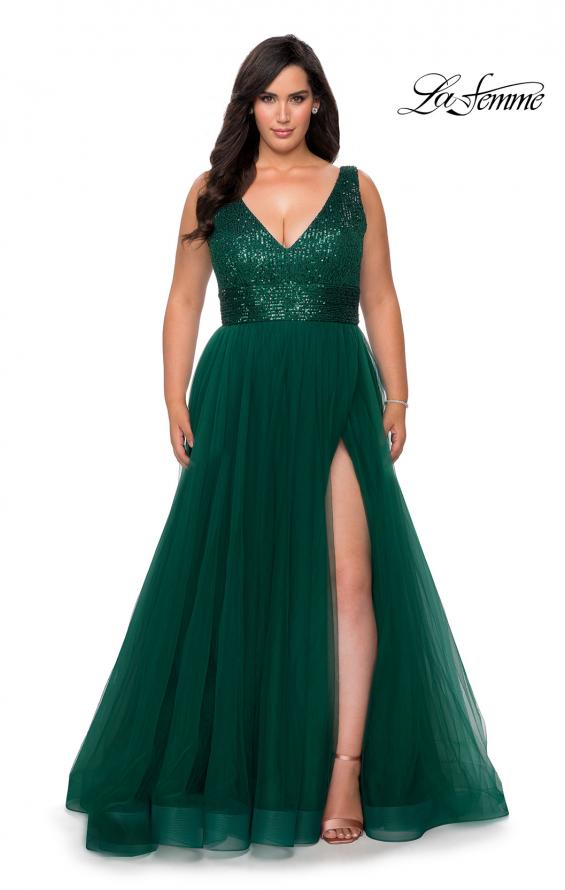 Picture of: Curvy A-line Prom Gown with Sequin Bodice and Tulle Skirt in Emerald, Style: 29045, Detail Picture 1