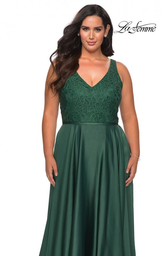 Picture of: A-line Plus Size Dress with Lace Sequin Bodice in Emerald, Style: 29004, Detail Picture 2