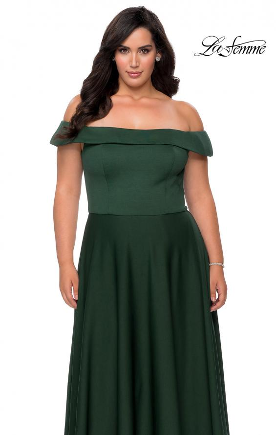 Picture of: Off The Shoulder Plus Size Dress with Leg Slit in Emerald, Style: 29007, Detail Picture 5