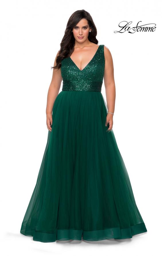 Picture of: Curvy A-line Prom Gown with Sequin Bodice and Tulle Skirt in Emerald, Style: 29045, Detail Picture 5