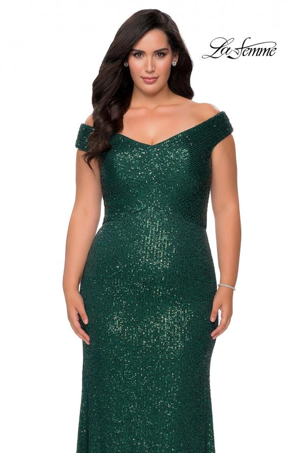 Picture of: Off The Shoulder Sequin Plus Size Prom Dress in Emerald, Style: 28795, Detail Picture 6