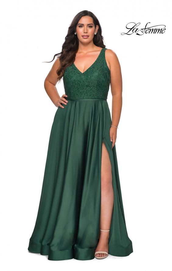 Picture of: A-line Plus Size Dress with Lace Sequin Bodice in Emerald, Style: 29004, Detail Picture 6