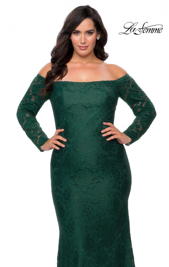 Picture of: Long Sleeve Off The Shoulder Lace Plus Size Dress in Emerald, Style: 28859, Detail Picture 7