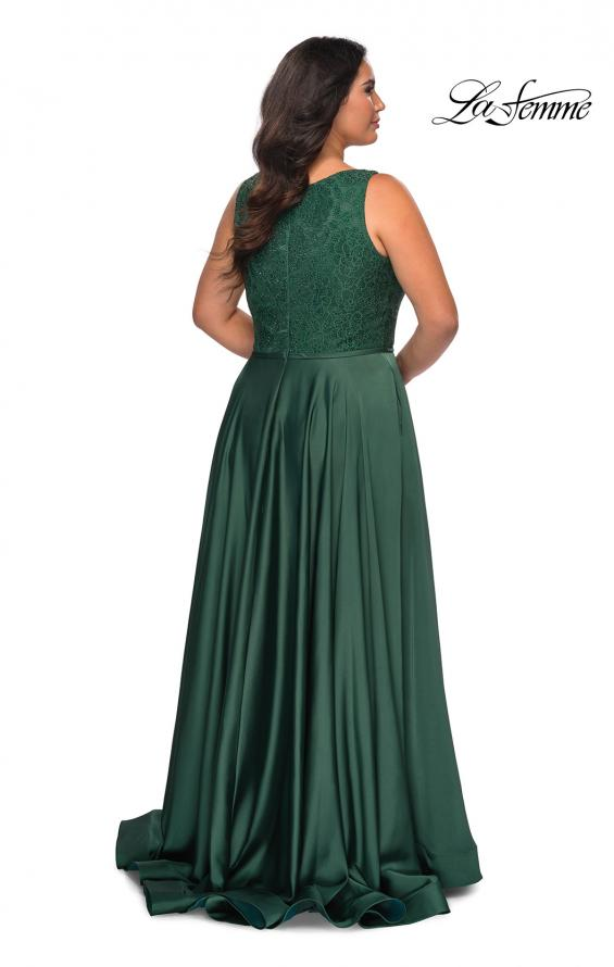 Picture of: A-line Plus Size Dress with Lace Sequin Bodice in Emerald, Style: 29004, Detail Picture 7