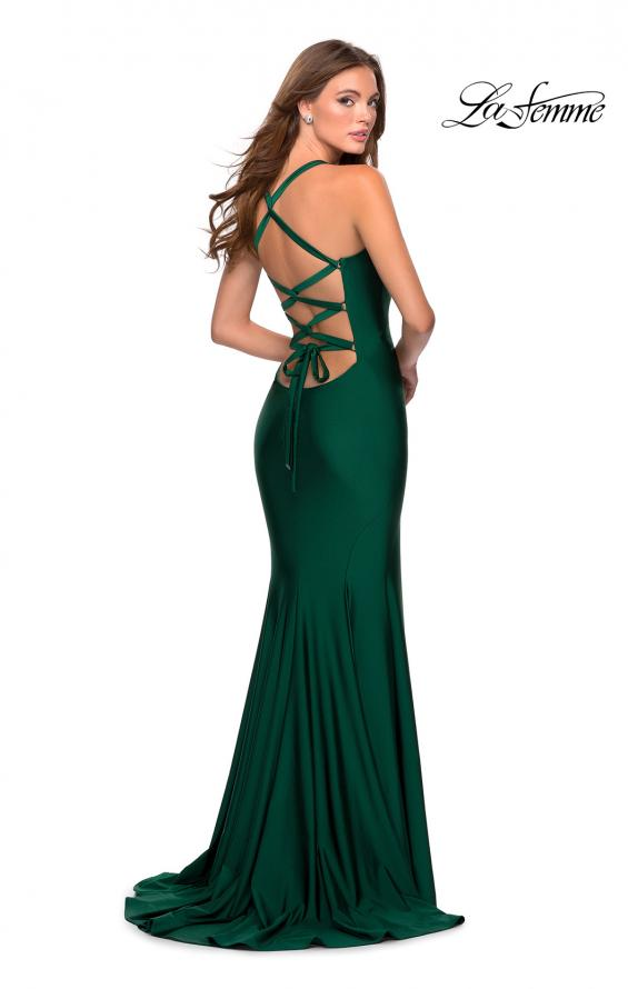 Picture of: Form Fitting Prom Dress with Dramatic Lace Up Back in Emerald, Style: 28568, Main Picture