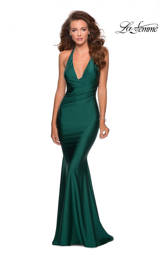 Picture of: Jersey Prom Dress with Deep Dramatic Neckline in Emerald, Style: 28579, Main Picture