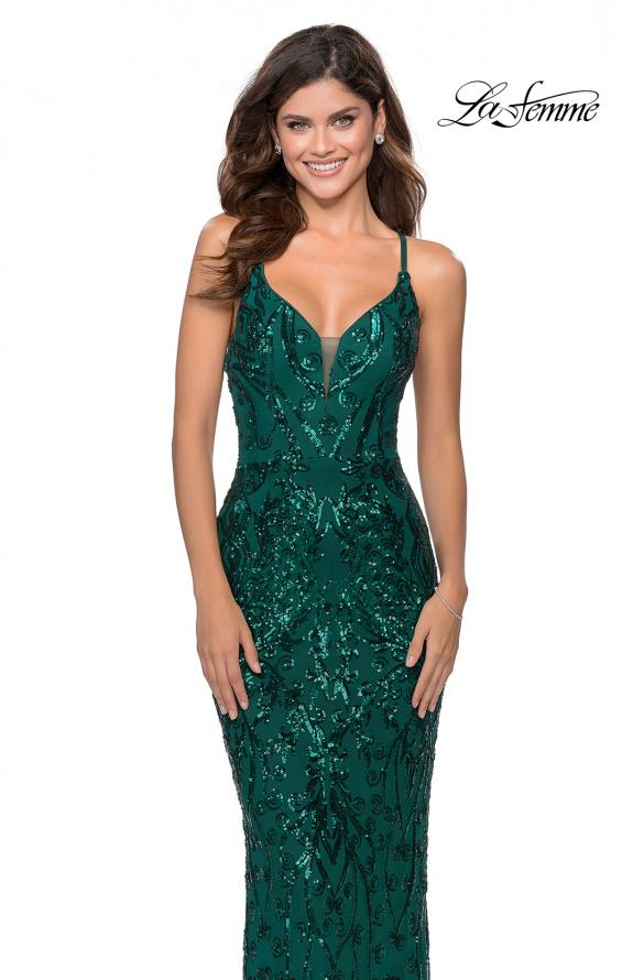 Picture of: Long Prom Dress with Intricate Sequin Lace Design in Emerald, Style: 28828, Main Picture