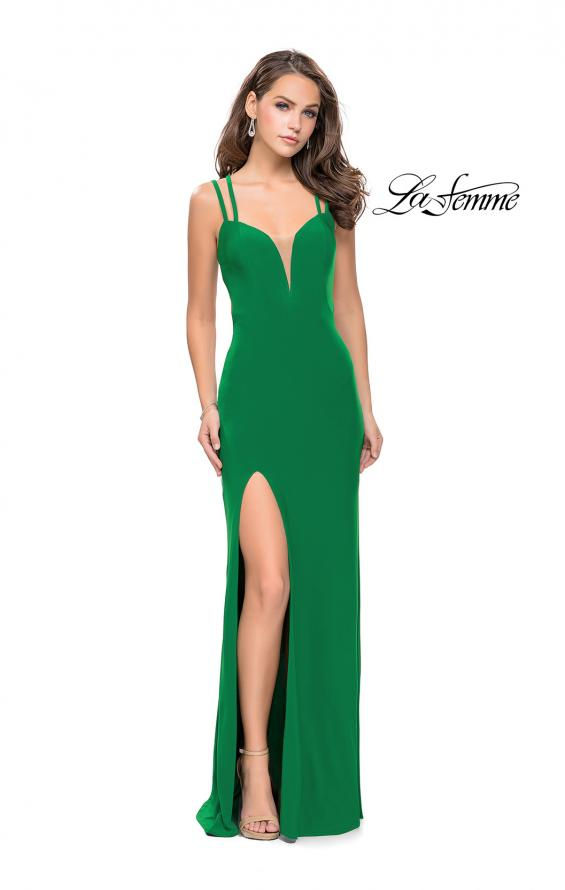 Picture of: Long Classic Prom Dress with Side Leg Slit and Deep V, Style: 25648, Detail Picture 8