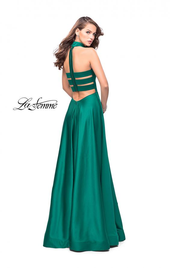 Picture of: Strapless Satin A-line Ball Gown with Attached Choker, Style: 25680, Back Picture