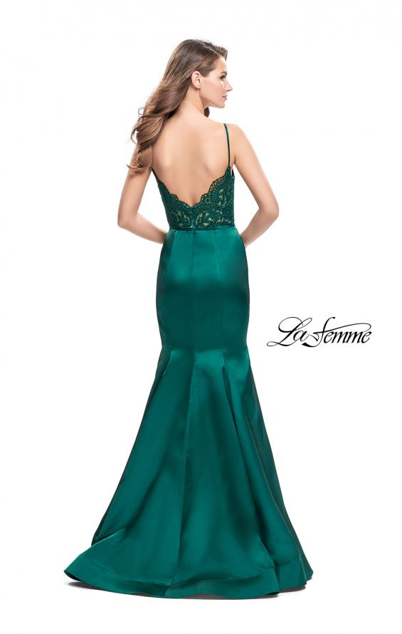 Picture of: Mikado Prom Dress with Lace Beaded Bodice and Low Back, Style: 25751, Back Picture