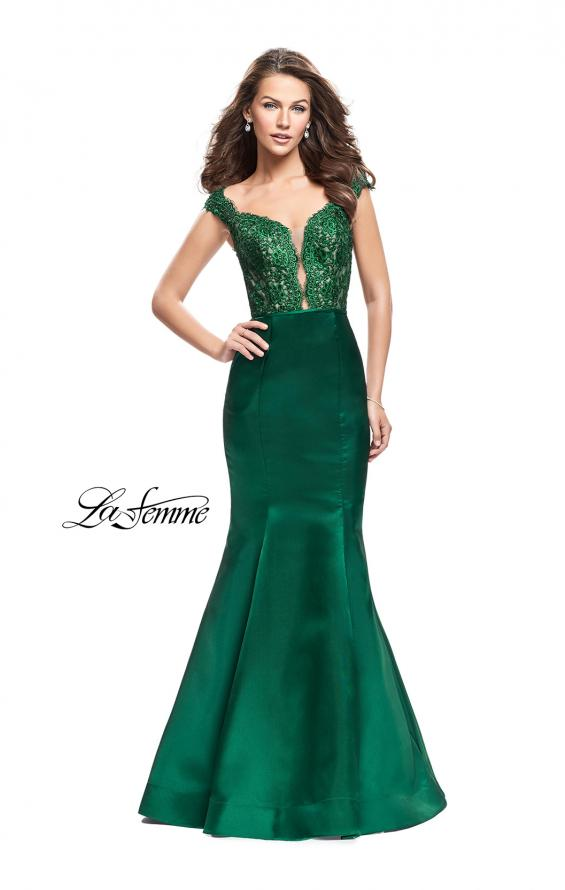 Picture of: Off the Shoulder Mikado Prom Dress with Lace and Beads in Emerald, Style: 25926, Back Picture