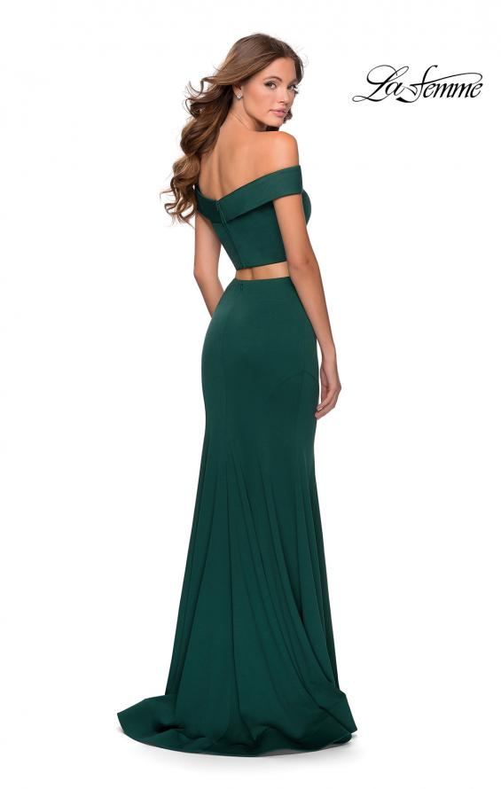 Picture of: Two Piece Off The Shoulder Dress with Pleated Top in Emerald, Style: 28521, Back Picture