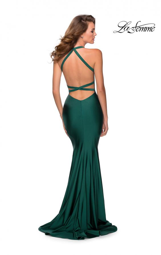 Picture of: Jersey Prom Dress with Deep Dramatic Neckline in Emerald, Style: 28579, Back Picture