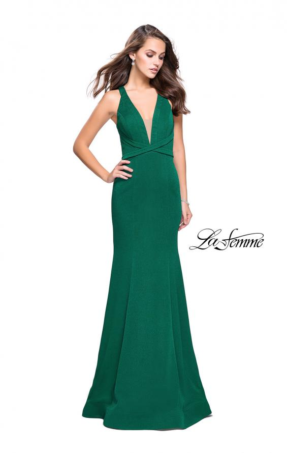 Picture of: Form Fitting Mermaid Prom Dress with Low V Open Back in Emerald, Style: 25503, Detail Picture 1