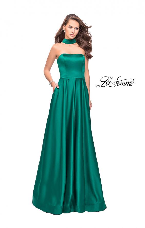 Picture of: Strapless Satin A-line Ball Gown with Attached Choker, Style: 25680, Detail Picture 1