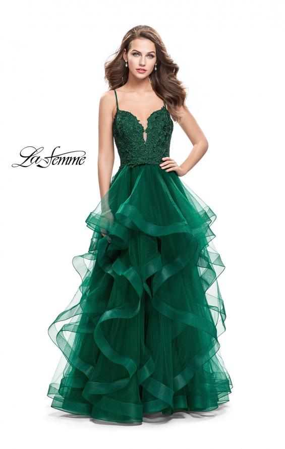Picture of: Long Ball Gown with Tulle Skirt and Beaded Lace Bodice in Emerald, Style: 25857, Detail Picture 1