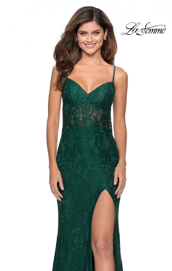 Picture of: Lace Prom Gown With Sheer Bodice and Tie Up Back in Emerald, Style: 28534, Detail Picture 1