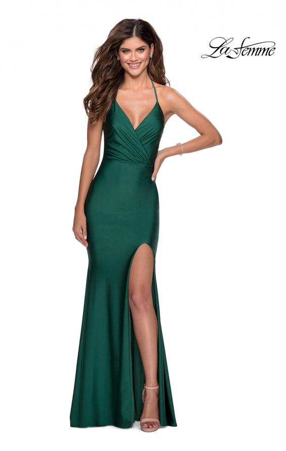 Picture of: Long Chiffon Prom Dress with Unique Lace Up Back in Emerald, Style 28552, Detail Picture 1
